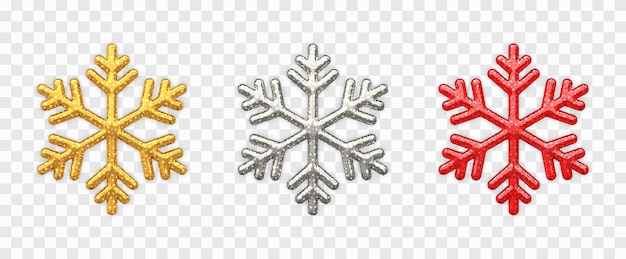Набор снежинок сверкающие золотисто-серебряные и красные снежинки с блестящей текстурой изолированы