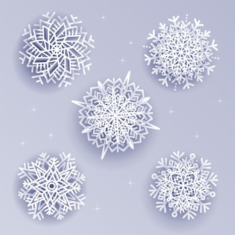 Snowflakes set in volume 3d style on white silver