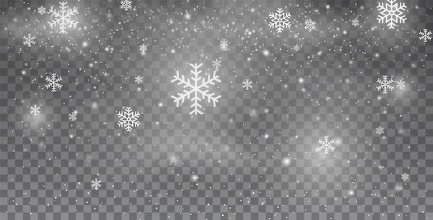 雪片。雪。降雪。新年のクリスマスの雪。白いキラキラの雪。さまざまな形や形の大雪。冬の雪が降る雪片クリスマス新年のデザイン