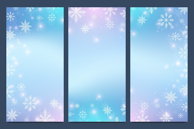 Snowflakes and stars banner set