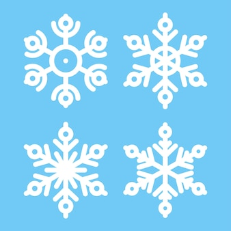 Snowflakes vector icons set isolated on background.