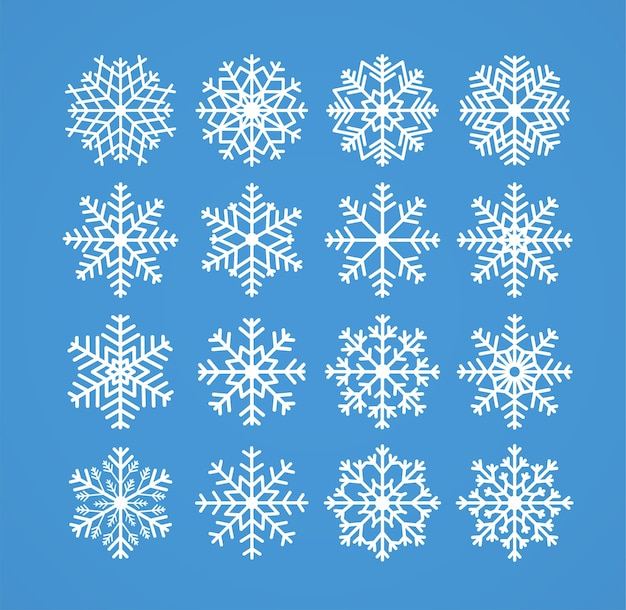Snowflakes winter christmas frosty snow line icons on blue background  illustration