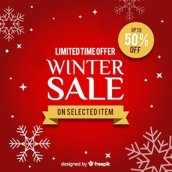 Sfondo di vendita invernale fiocchi di neve