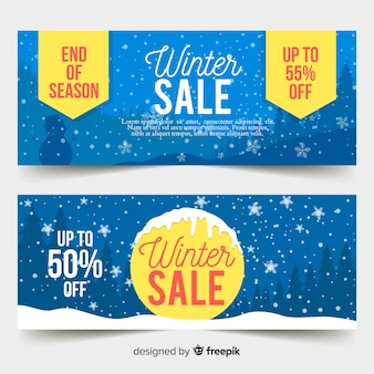 Snowflakes winter sale banner template