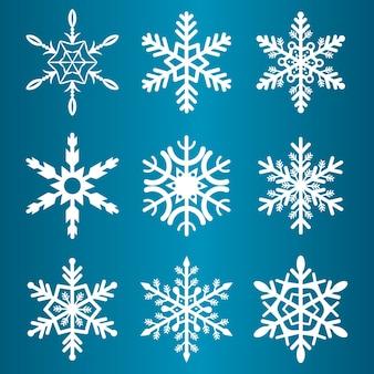 눈송이 겨울 시즌 벡터 크리스마스 눈 휴가 차가운 얼음 조각 기호 그림. 크리스탈 서리 크리스마스 요소 장식 강설량 아름다운 동결 장식.