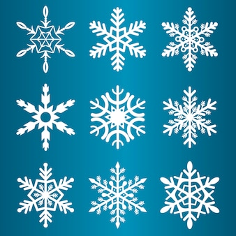 Snowflakes winter season vector christmas snow holiday cold ice flake symbol illustration
