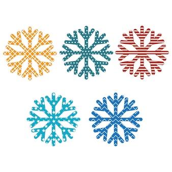 Снежинки с орнаментом, цветные векторные иллюстрации