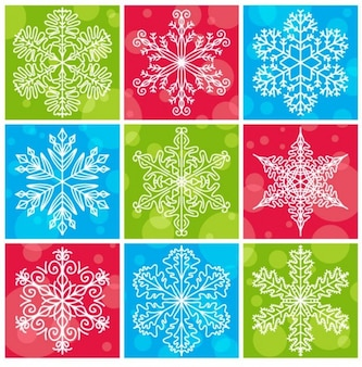 Snowflakes with colorful christmas background vector collection