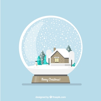 Snowglobe background with cabin and trees