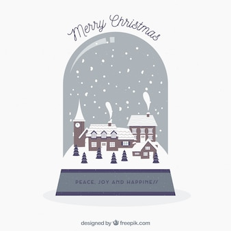 Snowglobe background with christmas village