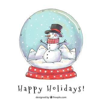 Снеговик фон с ручной обращается снеговик