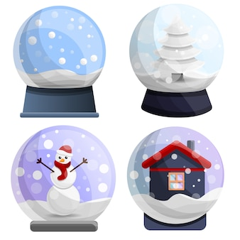 Snowglobe icon set, cartoon style