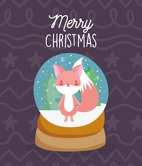 キツネの木の雪とメリークリスマスのお祝いsnowglobe