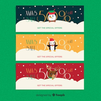 Snowing christmas sale banner pack