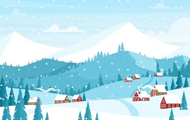 山の風景フラットで雪が降っています。美しい冬のクリスマスの背景。