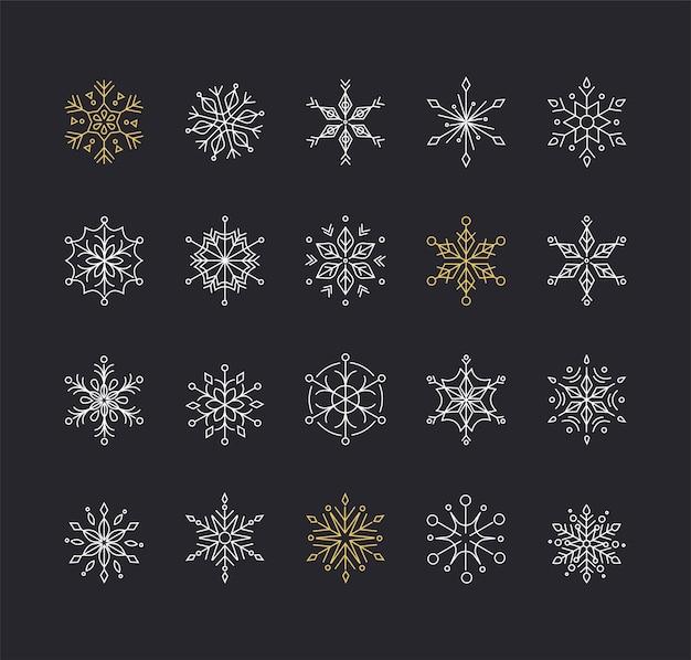 Snowlakes, geometric line art christmas ornaments,