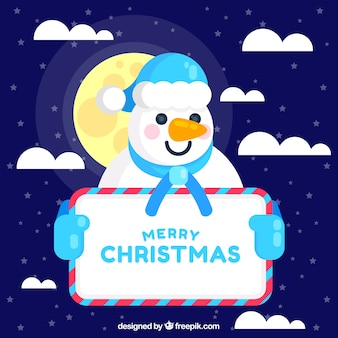 Snowman background with poster