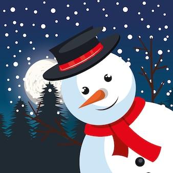 雪だるま大きな挨拶クリスマス、松の雪
