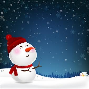 雪だるま漫画の笑顔と空白のコピースペース冬の夜のバックグラウンドで秋の雪