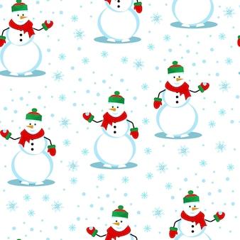 雪だるまは、雪片のシームレスなパターン、かわいい冬のプリント、フラットスタイルのベクトルイラストをキャッチします。