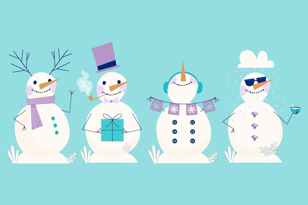 Snowman character collection in flat design