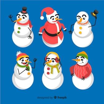 Снеговик коллекция персонажей в плоском дизайне