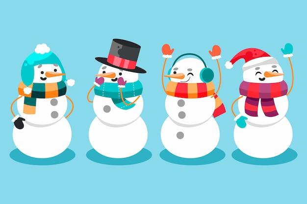 Коллекция персонажей снеговика в плоском дизайне