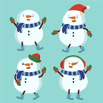フラットデザインの雪だるまキャラクターコレクション