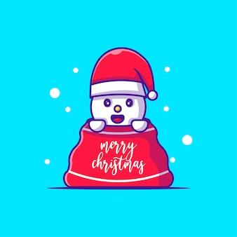 クリスマスプレゼント袋の雪だるまキャラクターイラスト。メリークリスマス