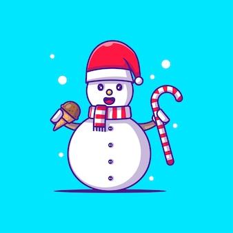 Снеговик персонаж иллюстрация с рождественскими аксессуарами. счастливого рождества