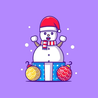 Snowman character illustration with christmas gift .merry christmas