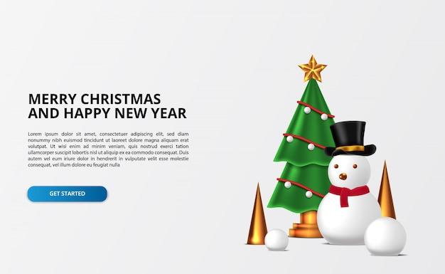 雪だるまとゴールデンコーンのクリスマスツリーの装飾と雪だるまの文字。メリークリスマス、そしてハッピーニューイヤー