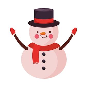 Снеговик в шляпе и шарфе. рождественский персонаж. векторная иллюстрация