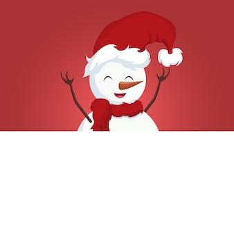 Новогодняя открытка снеговика на белом плакате