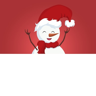 Snowman christmas card over white poster
