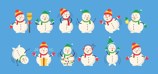 Snowman collection for christmas and winter. cheerful snowmen in different costumes.
