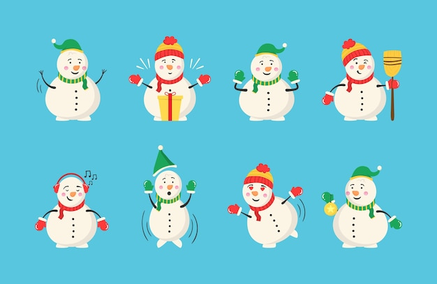 クリスマスと冬の雪だるまコレクション。さまざまな衣装の陽気な雪だるま。フラットなデザインのキャラクター漫画のセットです。