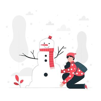 Illustrazione di concetto del pupazzo di neve