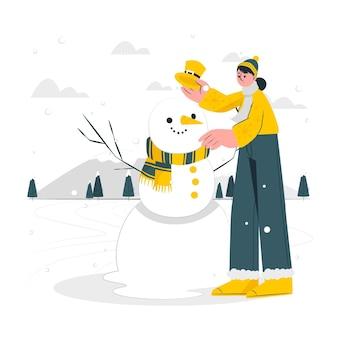 雪だるまのコンセプトイラスト