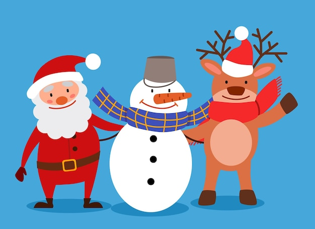 Snowman deer and santa claus are standing together