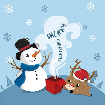 Snowman and deer.