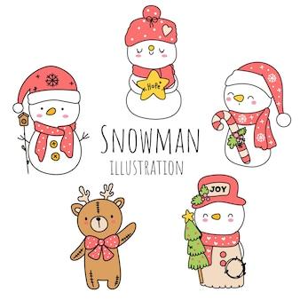 Снеговик каракули, мультфильм снеговика. векторная иллюстрация