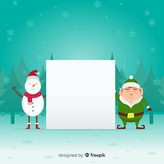 Snowman elf holding blank sign