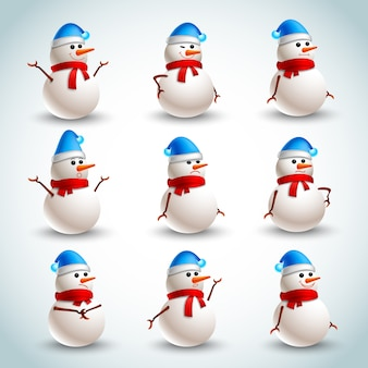 Snowman emotions set