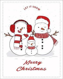 雪だるま家族イラスト。メリークリスマスカードまたはポストカード。