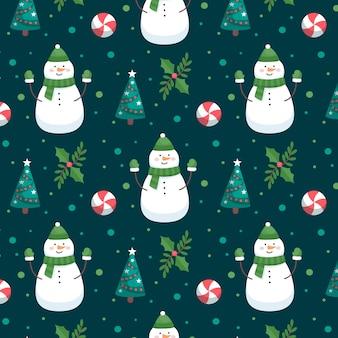 Снеговик смешной рождественский узор