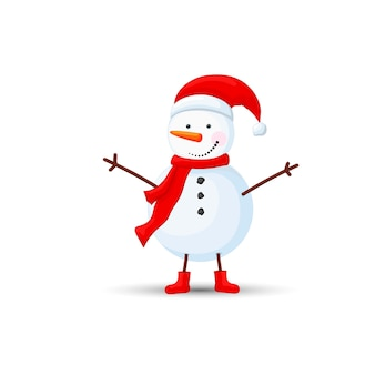 Snowman in hat with raised hands on white background.