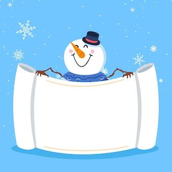 Snowman holding blank banner