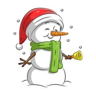 Снеговик держит колокольчик и использует зеленый шарф