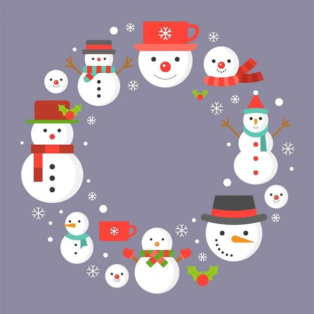Snowman icon on background for christmas holidays